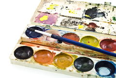 Dirty watercolor paints. Set with brush after using Royalty Free Stock Image