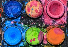 Dirty Watercolor palette Stock Image