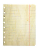 Dirty Weathered Notepad Page Stock Photography
