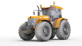 Dirty wheel agricultural tracktor isolated on white background. Orange dirty wheel harvesting tracktor isolated on white background. Front side view Stock Photos