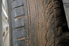Dirty wheel of the car Stock Photos