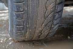Dirty wheel of the car Royalty Free Stock Photo