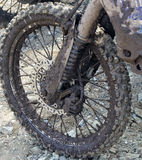 Dirty wheel motorcycle. After the race stock photo
