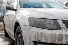 Dirty white car Royalty Free Stock Photo