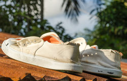 Dirty white sneakers on top of  house Stock Photography