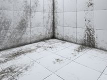 Dirty white tile floor corner 3D rendering. Perspective Stock Photos