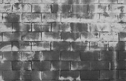 Dirty Whitewashed Brick Wall. A cinder block gray wall whitewashed with chipped paint and dirt royalty free stock photo