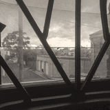 Dirty window security bars duotone Royalty Free Stock Photo