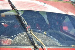 Dirty windshield and wiper. Dirty front windshield and wiper Royalty Free Stock Image