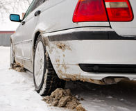 Dirty winter tyres Royalty Free Stock Photos