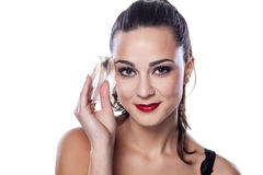 Dirty wipe. Nice beautiful girl shows dirty wet wipe used to remove her makeup Royalty Free Stock Images