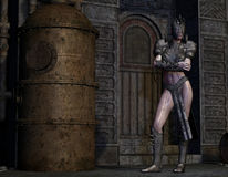 Dirty woman in armor. 3D Rendering dirty woman in armor Stock Image