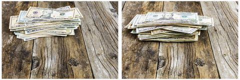Cash pile paper money savings retro wood. The dirty wooden rough floor background American money cash paper bills stacked stack pile investment financial savings Stock Image