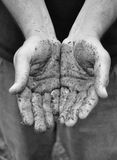 Dirty Work Hands Open Royalty Free Stock Images