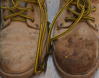 Dirty work shoes. Shoes for camping or construccion work full of mud Stock Photography