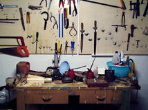 Dirty workbench Royalty Free Stock Photos
