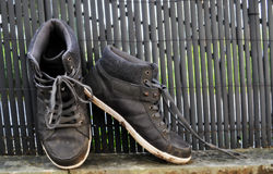 Dirty worker`s shoes Royalty Free Stock Photos