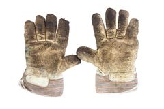 Dirty working gloves Stock Photos