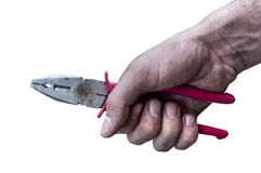 Dirty workman hand hold a plierspincer isolated on white background. Close Royalty Free Stock Image