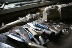 Dirty workshop of woodcarver Royalty Free Stock Photography