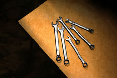 Dirty wrenches on grunge background. Royalty Free Stock Photo