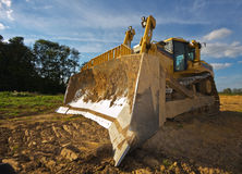 Dirty yellow bulldozer Royalty Free Stock Images
