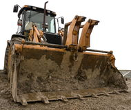 Dirty yellow  bulldozer isolated Stock Images