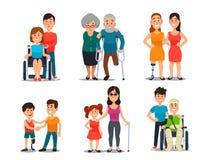 Disabile preoccupantesi Gente handicappata con il gruppo di amici Aiuto e cura amichevoli all'uomo o alla donna di inabilità illustrazione di stock