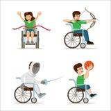 Disabili in sedie a rotelle - arcere, giocatore di pallacanestro, atleta, schermitore Illustrazione piana di vettore Immagini Stock
