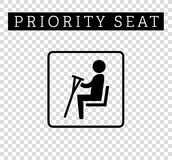 Disabilities or cripple with crutches sign. Priority seating for customers, special place icon isolated on background. Stock Image