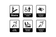 Disabilities Discrimination Act signs. For People with disabilities royalty free illustration