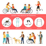 Disabilities Infographic Concept. With people in wheelchair on crutches using walkers blind man and woman on prostheses vector illustration Royalty Free Stock Photo