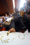 Disabilities  make batik Stock Photos