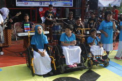 Disabilities perform. From YPAC SOlo, Java Indonesia, crew on car free day slamet riyadi street Royalty Free Stock Photos