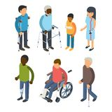 Disabilities persons isometric. Injury invalids defective persons maggiore deaf care adults vector 3d peoples royalty free illustration