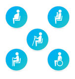 Disabilities and seniors, cripple, pregnant, mom or mother with child area sign set. Priority seating for customers, special place icons. Vector illustration Stock Photo