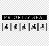 Disabilities and seniors, cripple, pregnant, mom or mother with child area sign set. Priority seating for customers, special place icons isolated on background Royalty Free Stock Photo