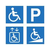 Disability accessibility icon set. Disabled parking, ramp and elevator blue signs. Disability accessibility icon set. Disabled parking, ramp and elevator blue Stock Photo