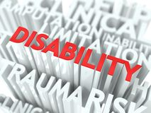 Disability Background Conceptual Design. Disability Background Design. Word of Red Color Located over Word Cloud of White Color Stock Images