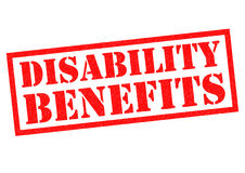 DISABILITY BENEFITS. Red Rubber Stamp over a white background Royalty Free Stock Photo