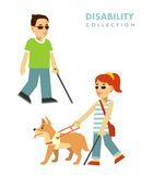 Disability blind person concept. Blind people set. Royalty Free Stock Photos
