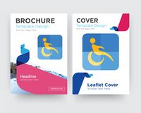 Disability brochure flyer design template. With abstract photo background, minimalist trend business corporate roll up or annual report Royalty Free Stock Images