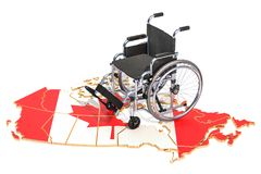 Disability in the Canada concept, 3D rendering. Isolated on white background Stock Images