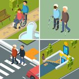 Disability in city. Urban healthcare invalids wheelchairs walkers crutches equipment and helpers persons vector concept vector illustration