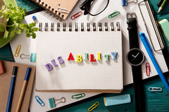disability concept - inscription  on the desk Stock Photography