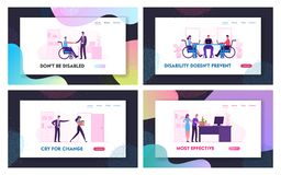 Free Disability Employment And Dismissal Website Landing Page Set. Angry Boss Fired Employee. Handicapped Person Adaptation Stock Image - 165557101