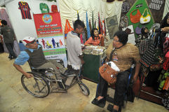 Disability Expo in Indonesia. People with disabilities who exhibit their business products at The Disability Expo in Surakarta, Central Java, Indonesia Royalty Free Stock Photo
