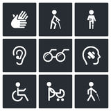 Disability Icons Set Stock Photo