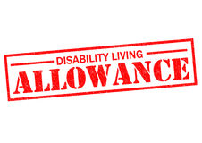 DISABILITY LIVING ALLOWANCE. Red Rubber Stamp over a white background Royalty Free Stock Photos