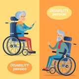 Disability Pension Two Pensioners on Wheelchairs. Disability pension two smiling gray-haired pensioners on wheelchairs. Vector illustration isolated on yellow Stock Photography